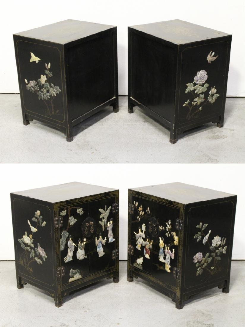 Pair Chinese stone overlay cabinets - 7