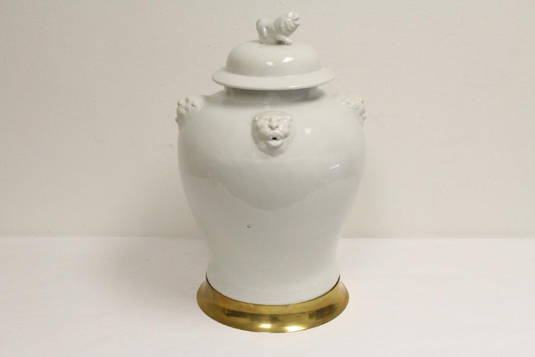 A large Chinese white porcelain covered jar with brass - 2