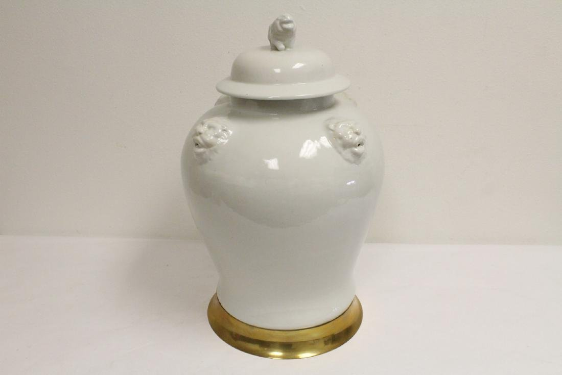 A large Chinese white porcelain covered jar with brass - 4