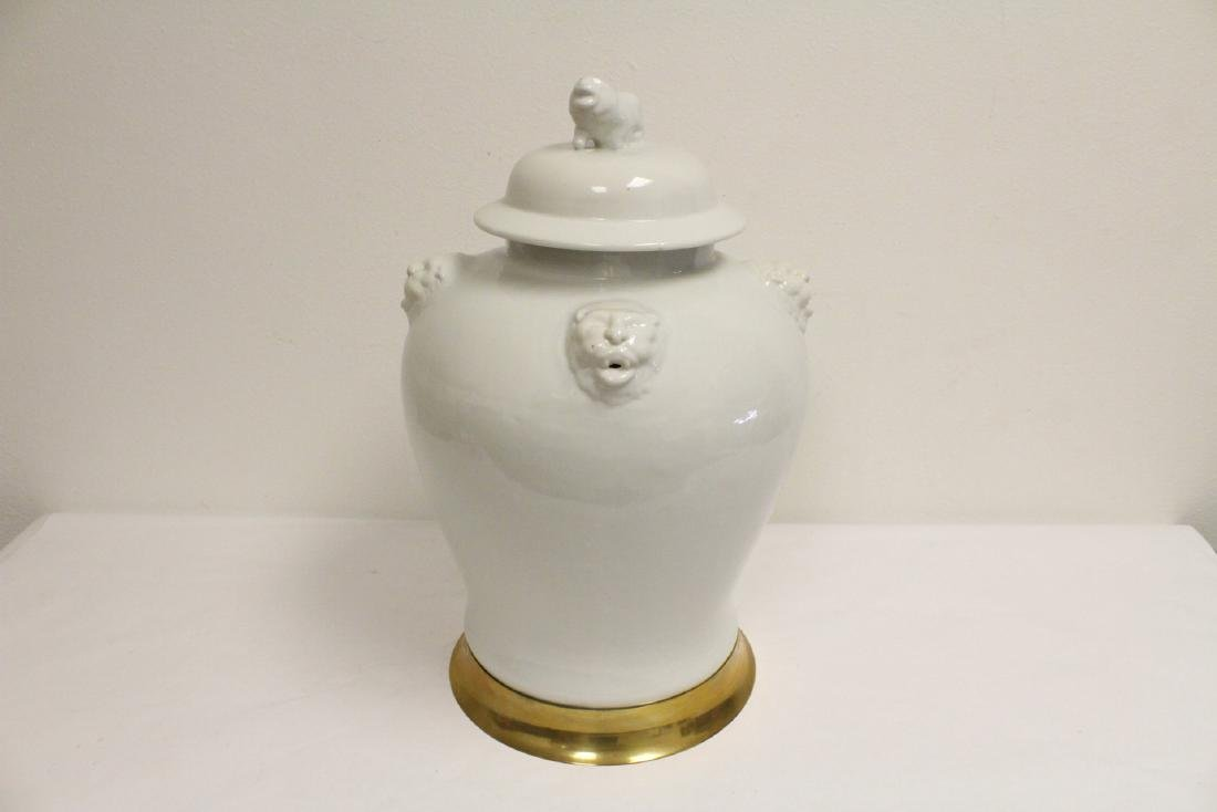 A large Chinese white porcelain covered jar with brass - 5