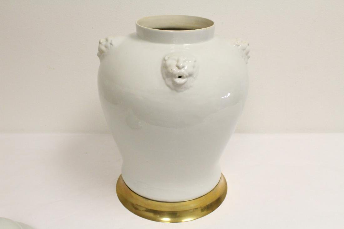 A large Chinese white porcelain covered jar with brass - 7