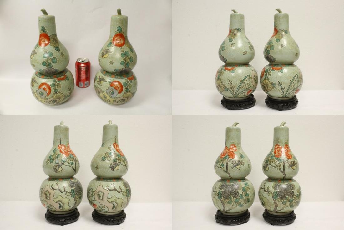 Pair famille rose porcelain gourds with stand - 2