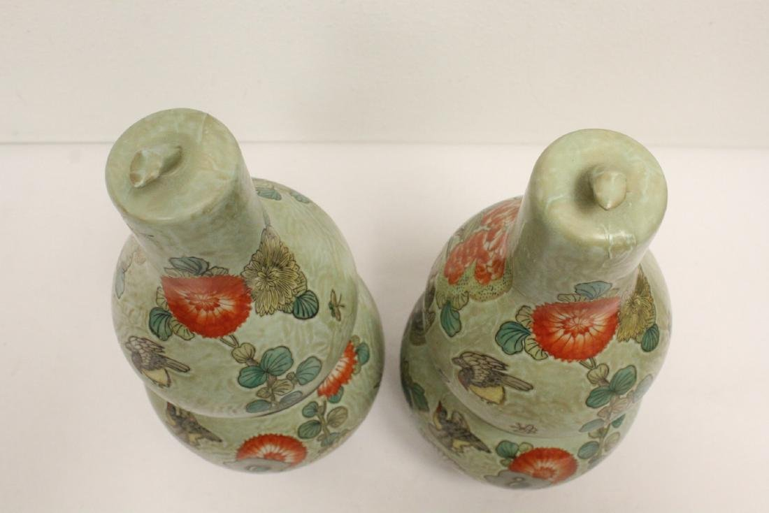 Pair famille rose porcelain gourds with stand - 3