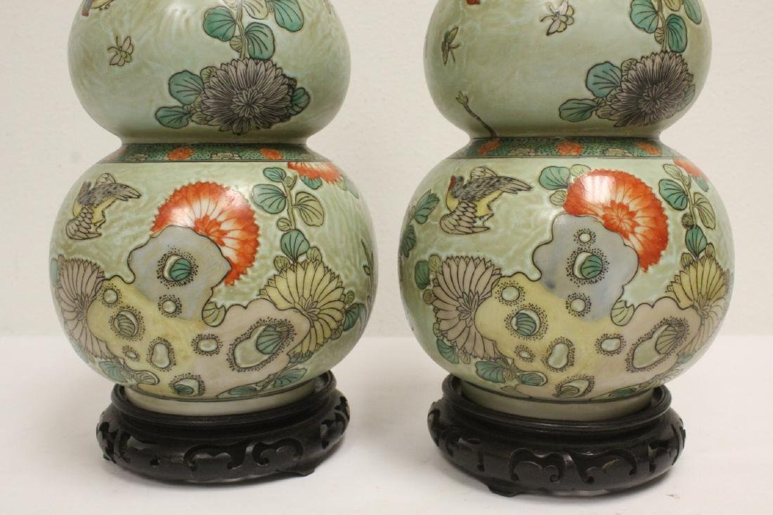 Pair famille rose porcelain gourds with stand - 5