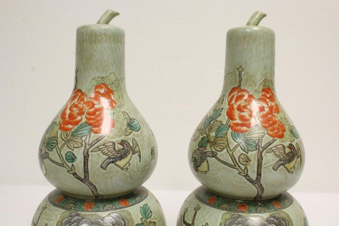 Pair famille rose porcelain gourds with stand - 7