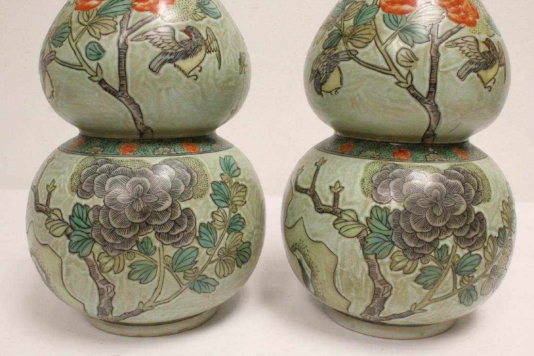 Pair famille rose porcelain gourds with stand - 8