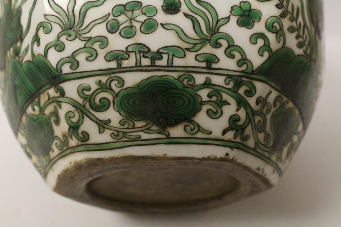 Chinese green and white porcelain jar - 8