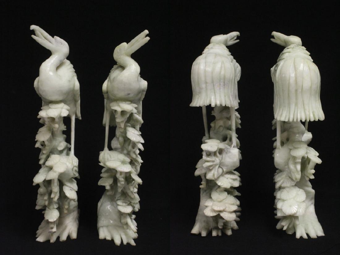 Pair large jade carved cranes - 2