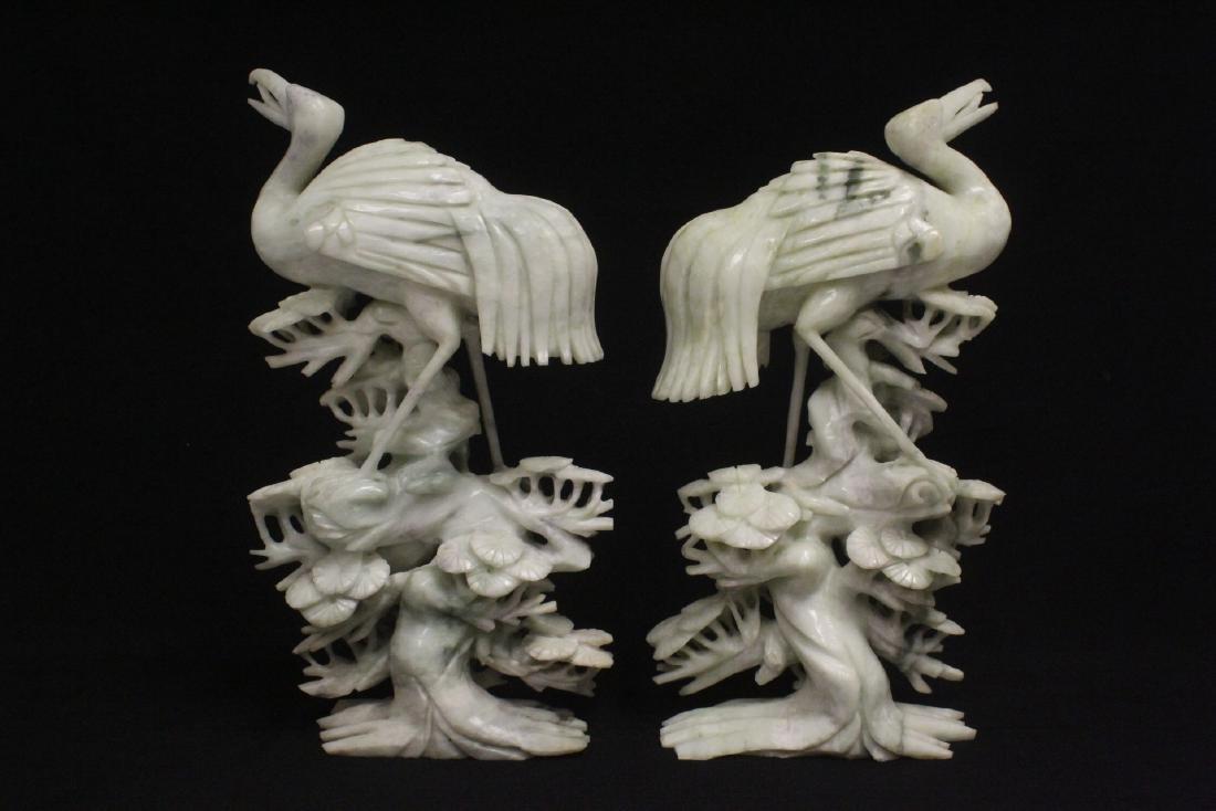Pair large jade carved cranes - 3