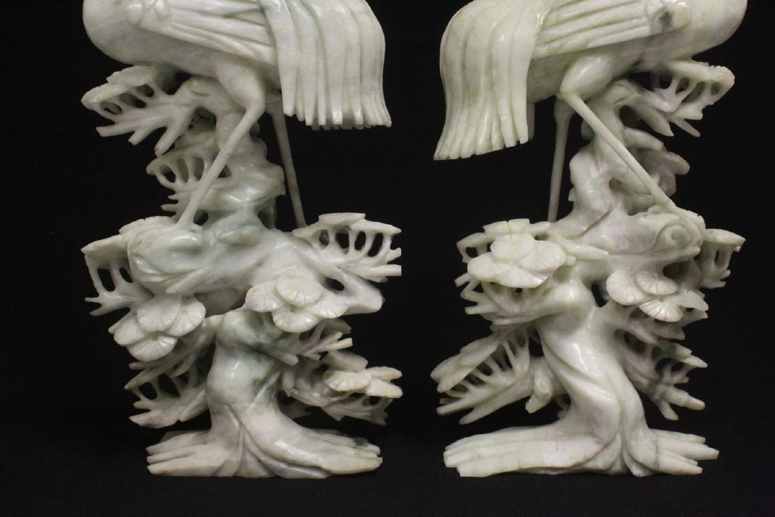 Pair large jade carved cranes - 5