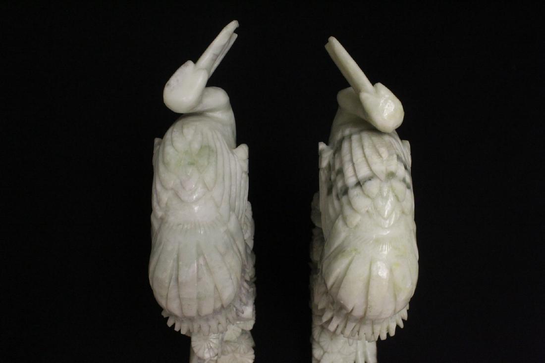 Pair large jade carved cranes - 6