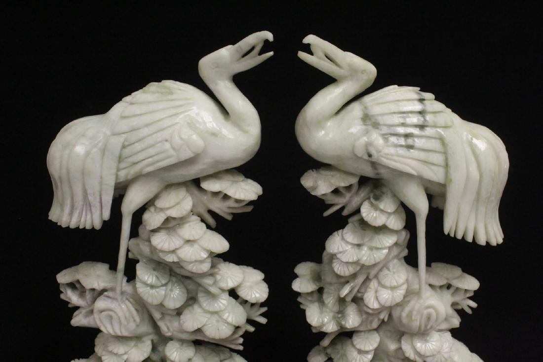 Pair large jade carved cranes - 7