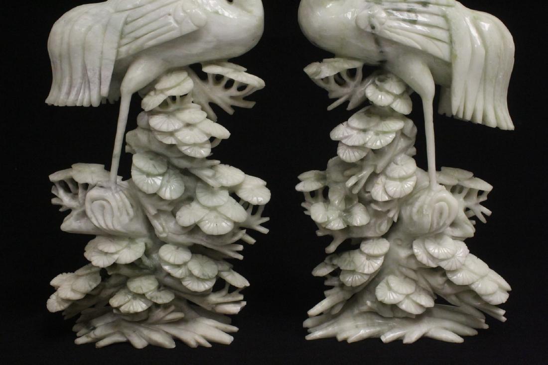 Pair large jade carved cranes - 8