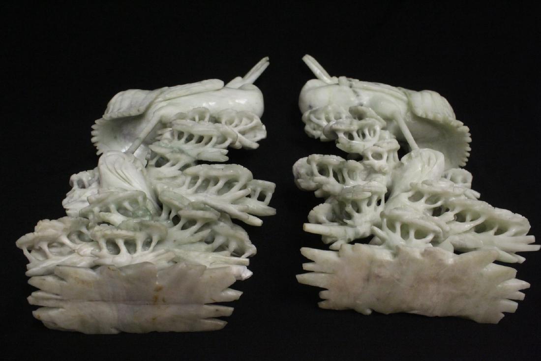 Pair large jade carved cranes - 9