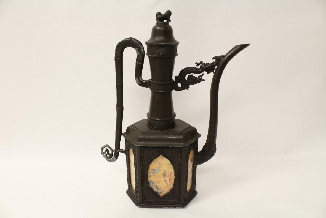 A pewter teapot - 6