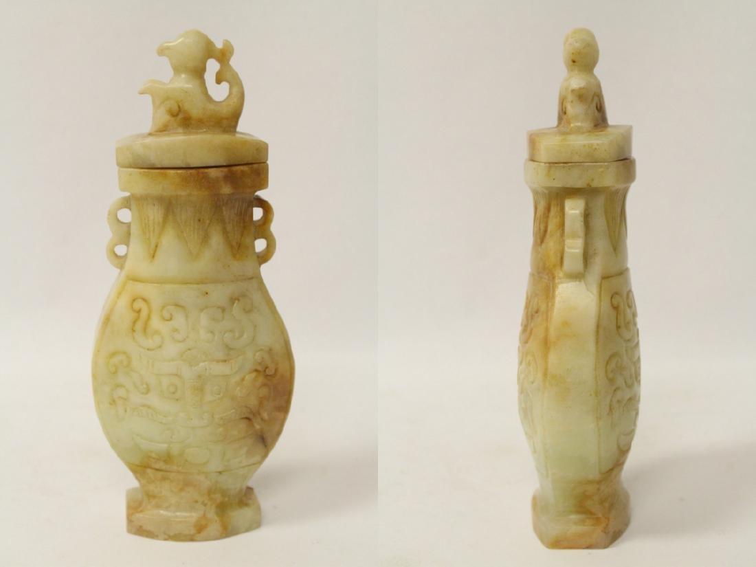 2 jade carved covered vases - 6