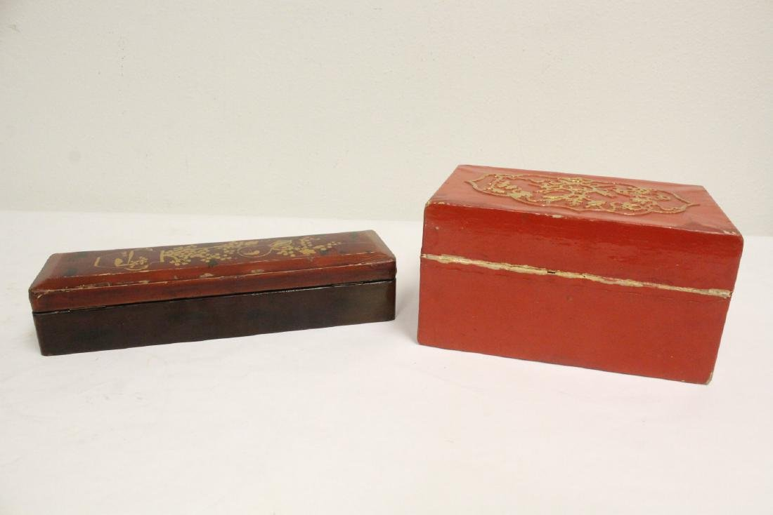 2 lacquer boxes, & a jewelry box w/ MOP - 10