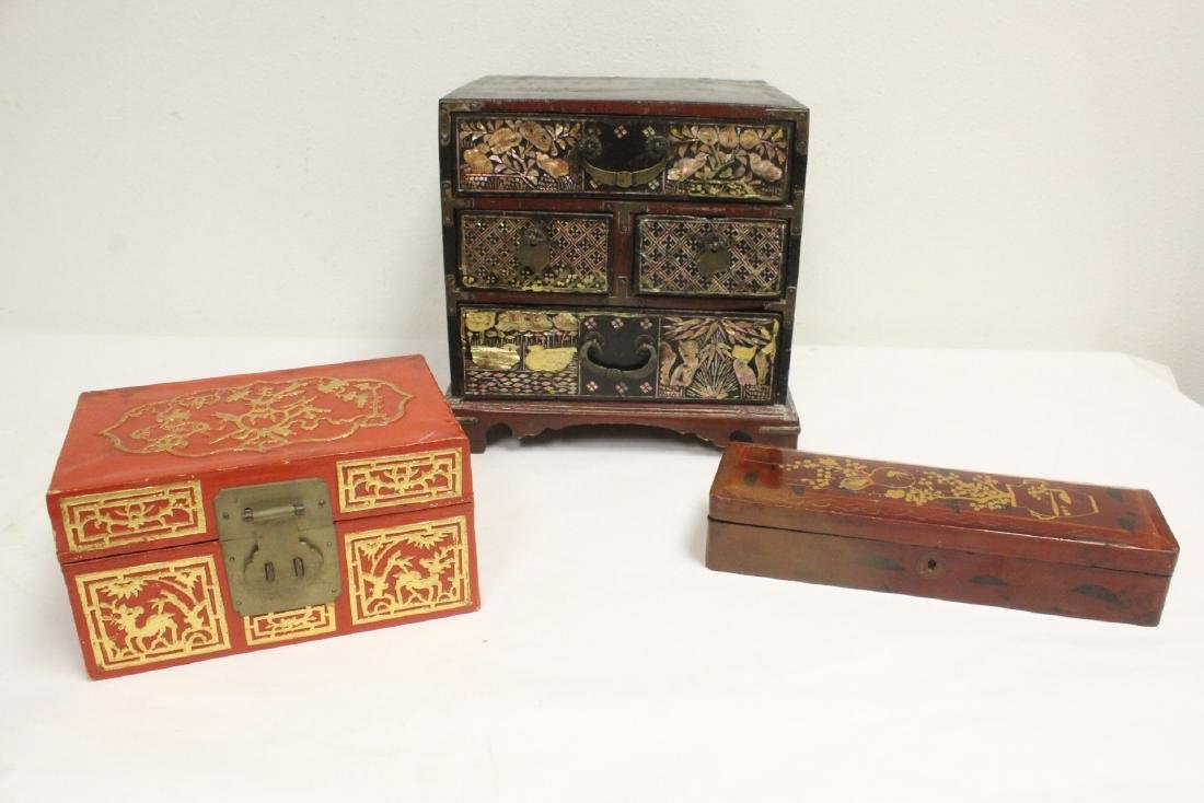 2 lacquer boxes, & a jewelry box w/ MOP