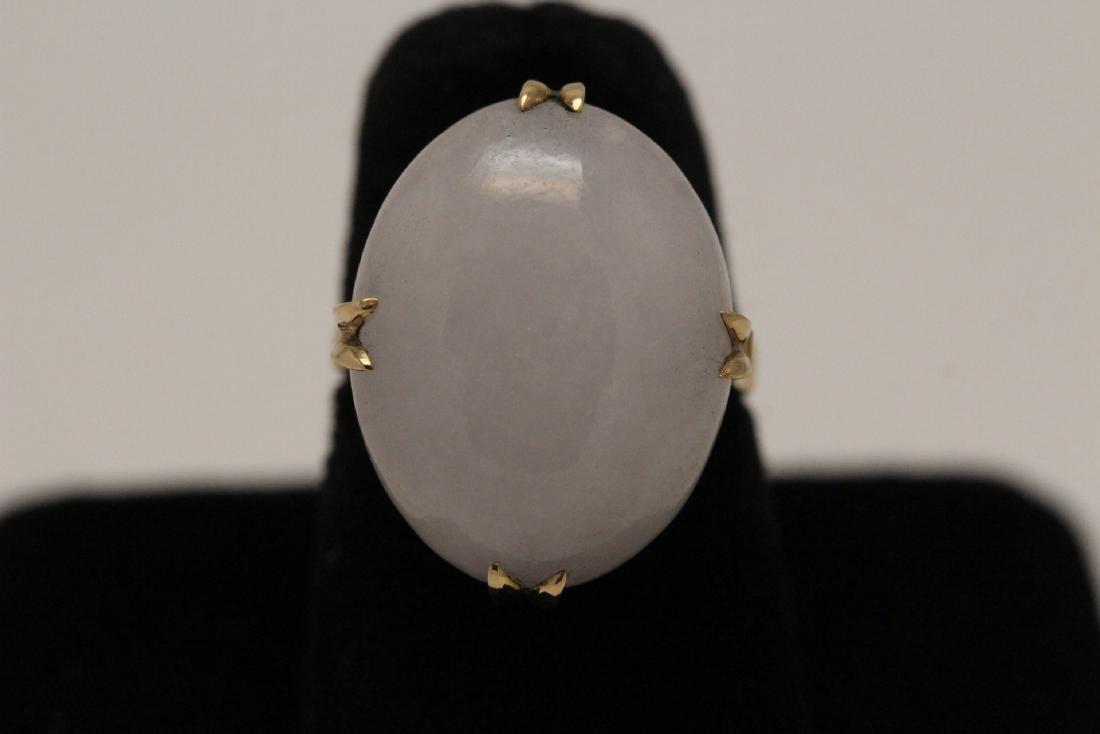 14K Y/G lavender jadeite ring