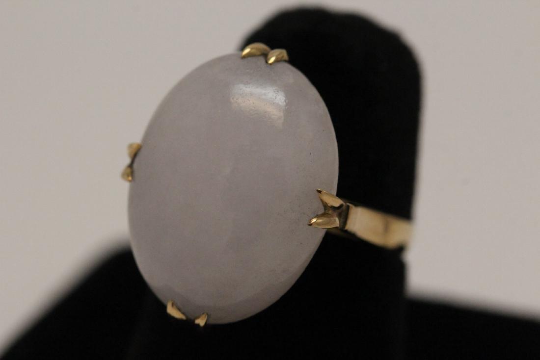14K Y/G lavender jadeite ring - 2