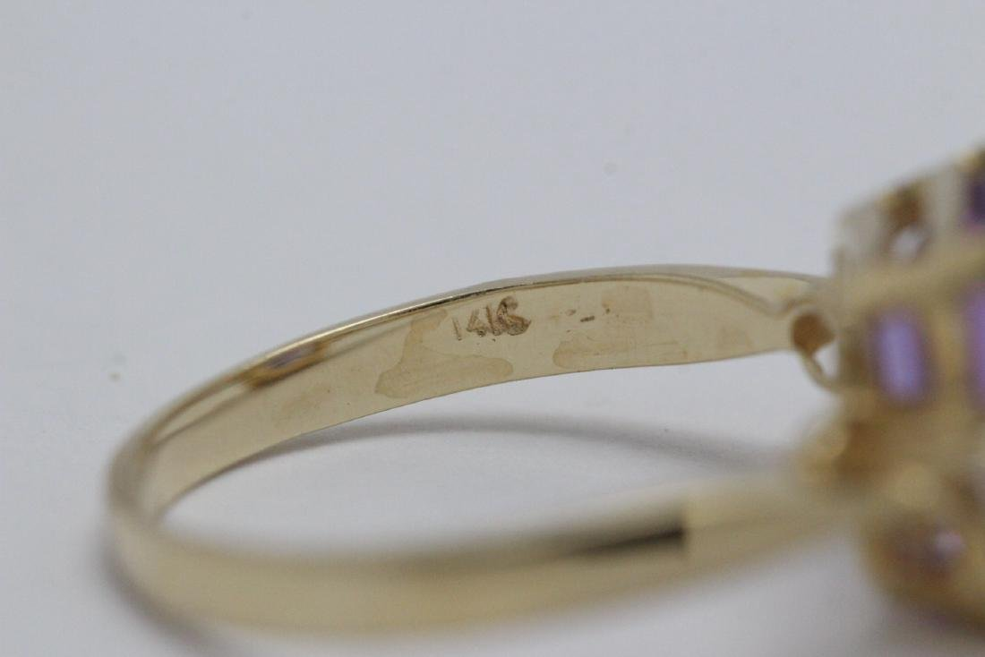 art deco 14K Y/G amethyst diamond ring - 10
