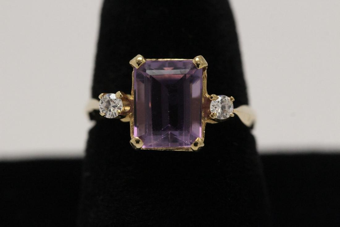 art deco 14K Y/G amethyst diamond ring