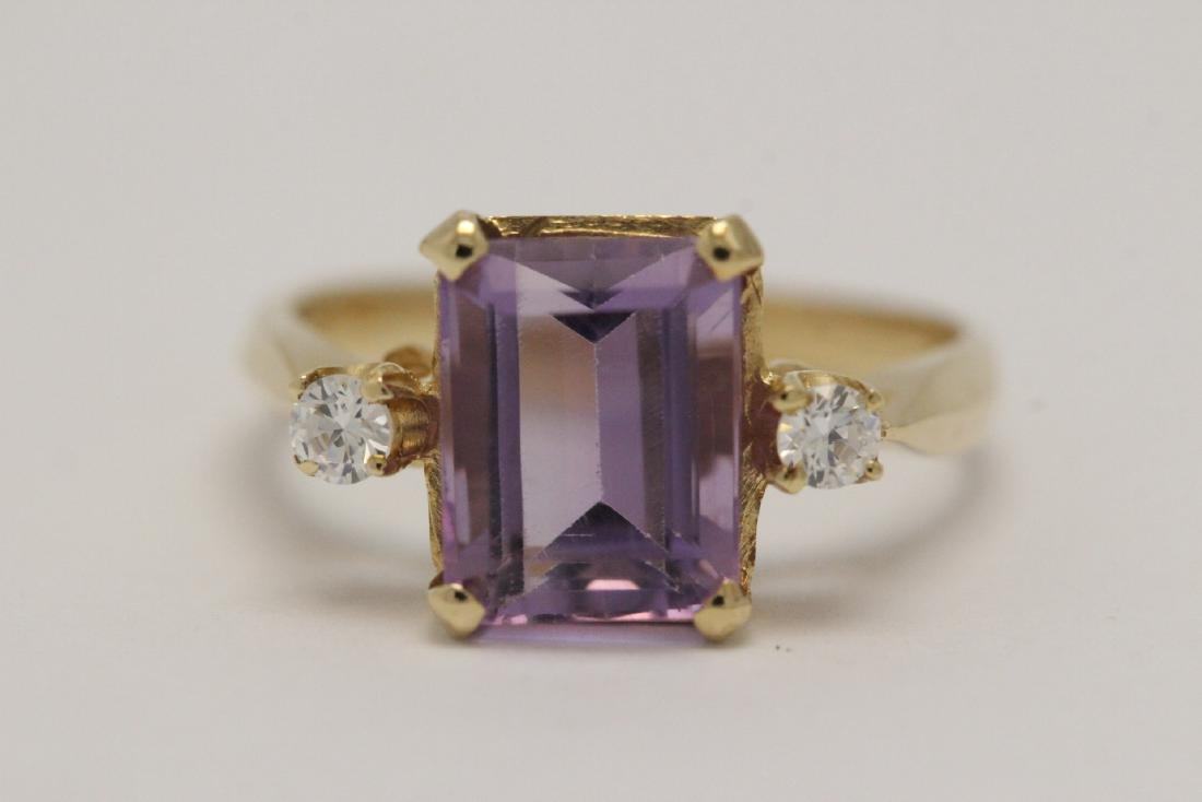 art deco 14K Y/G amethyst diamond ring - 2