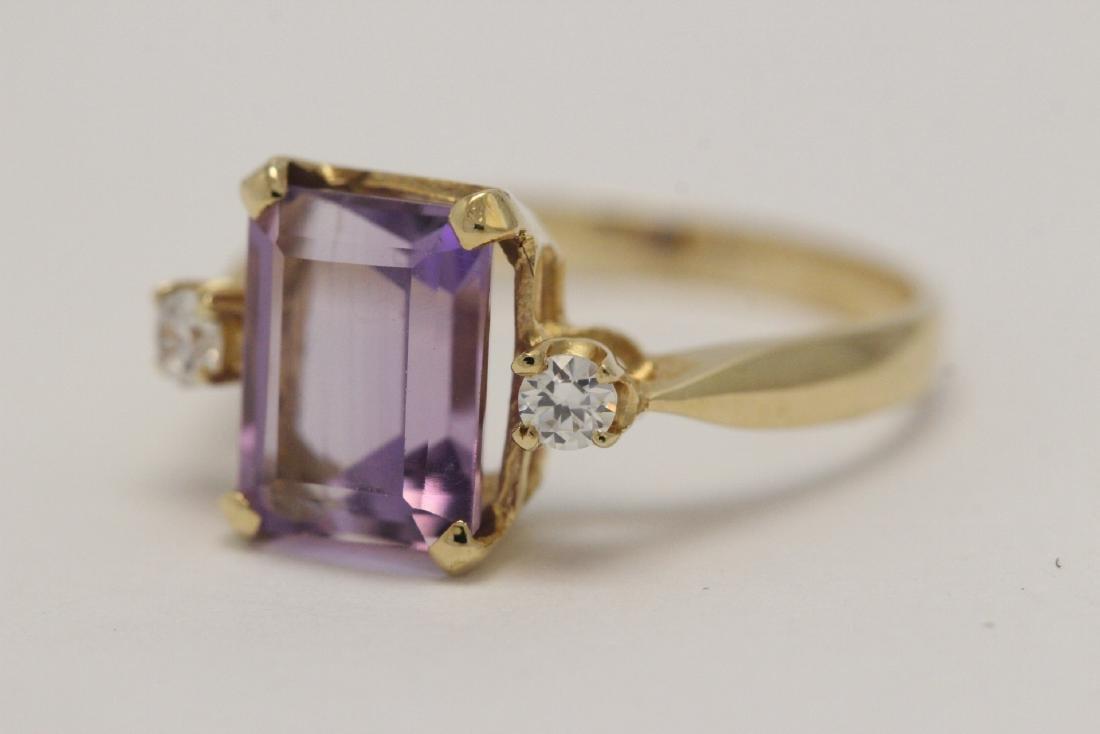art deco 14K Y/G amethyst diamond ring - 3