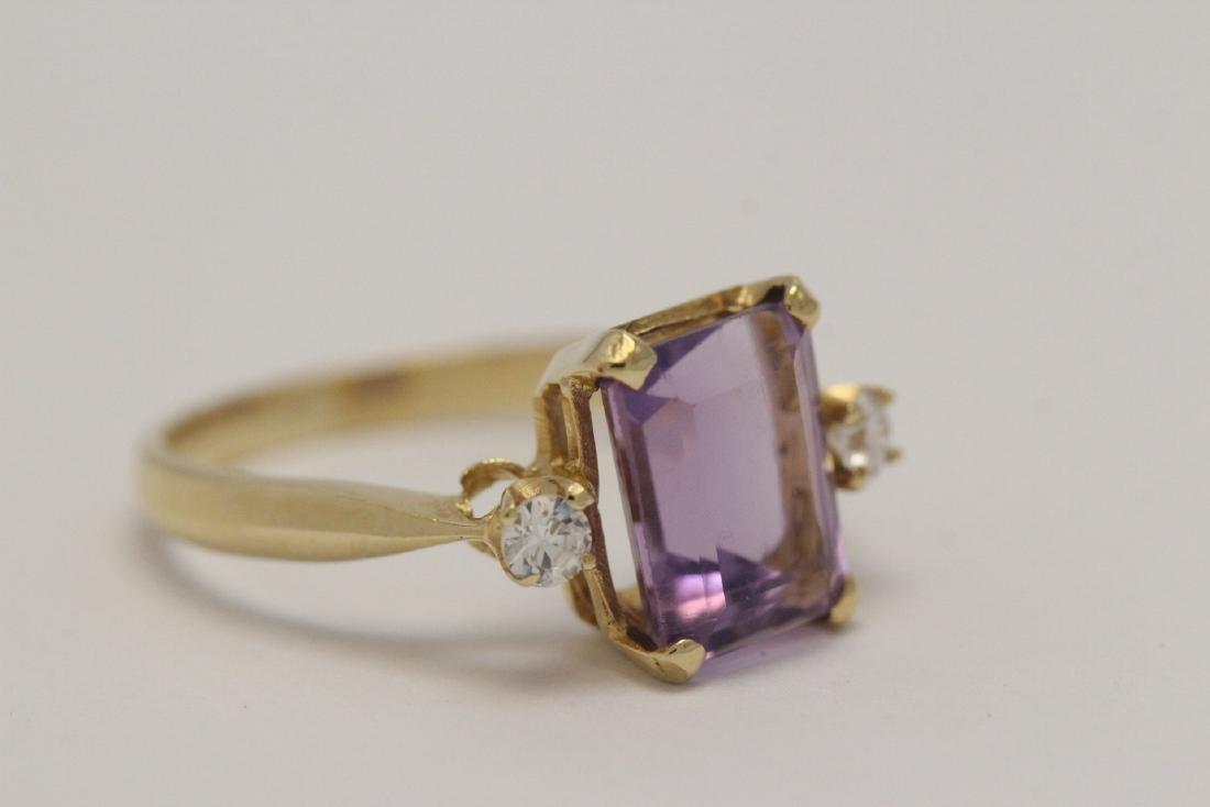 art deco 14K Y/G amethyst diamond ring - 4