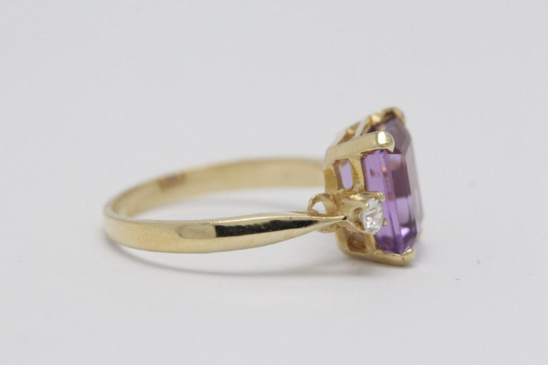 art deco 14K Y/G amethyst diamond ring - 5