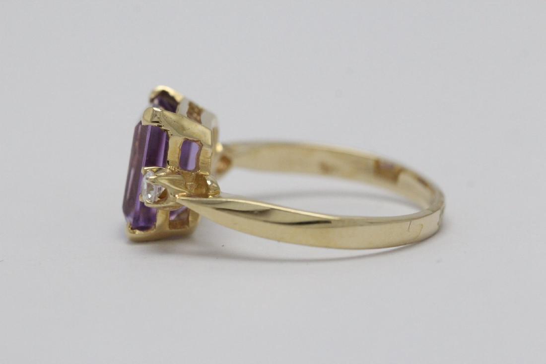 art deco 14K Y/G amethyst diamond ring - 6