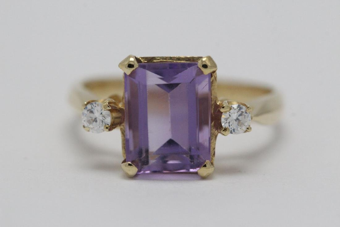art deco 14K Y/G amethyst diamond ring - 7