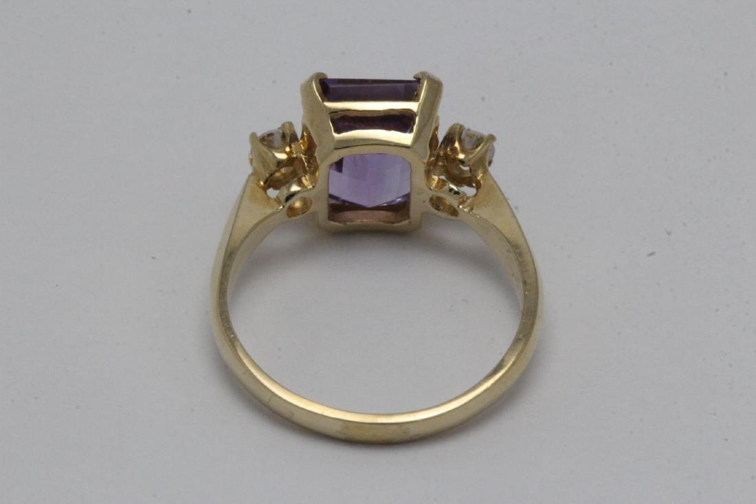 art deco 14K Y/G amethyst diamond ring - 8