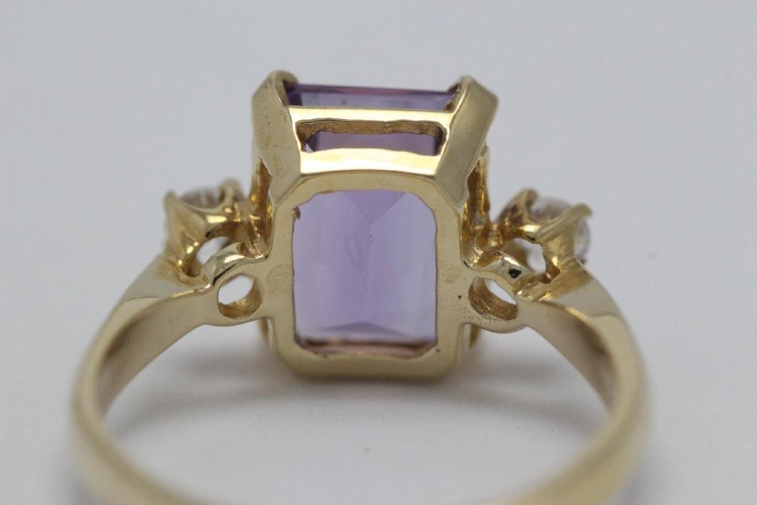 art deco 14K Y/G amethyst diamond ring - 9