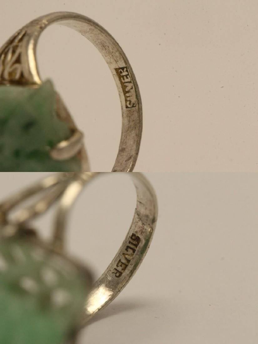 2 Chinese silver rings w/ antique carved jadeite - 10