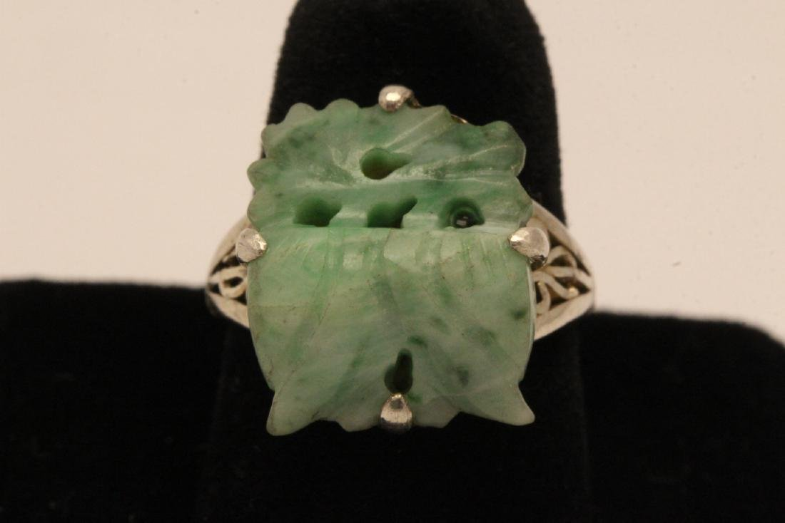 2 Chinese silver rings w/ antique carved jadeite - 2