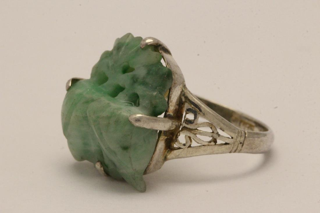 2 Chinese silver rings w/ antique carved jadeite - 3