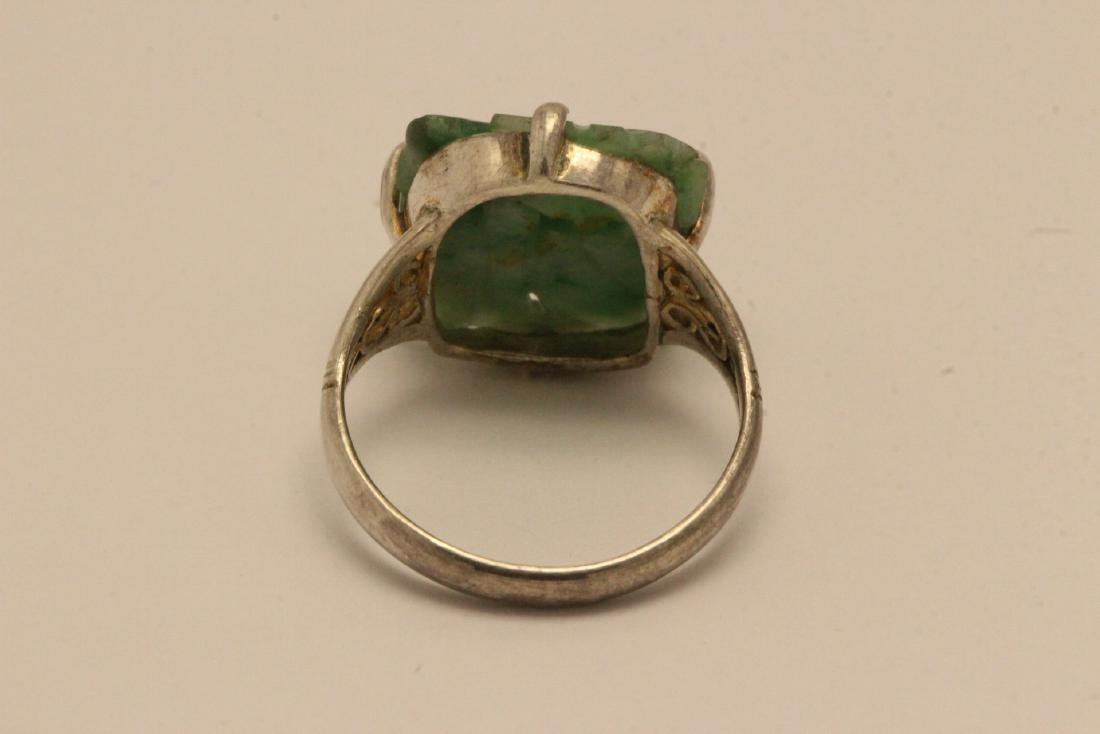 2 Chinese silver rings w/ antique carved jadeite - 4