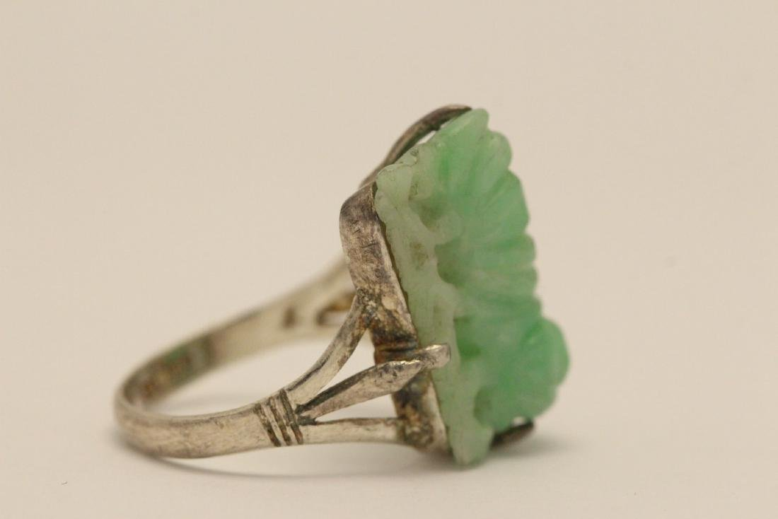 2 Chinese silver rings w/ antique carved jadeite - 8