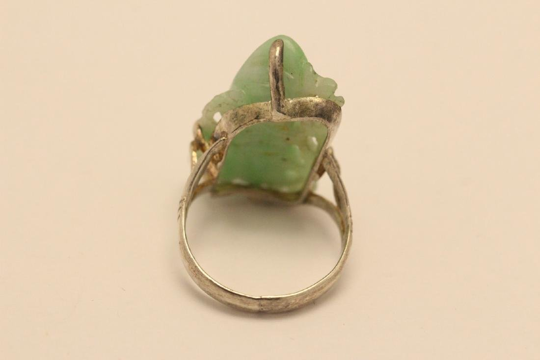 2 Chinese silver rings w/ antique carved jadeite - 9