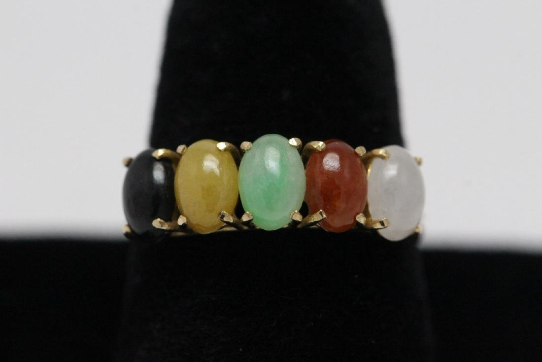 14K Y/G multi-color jadeite ring