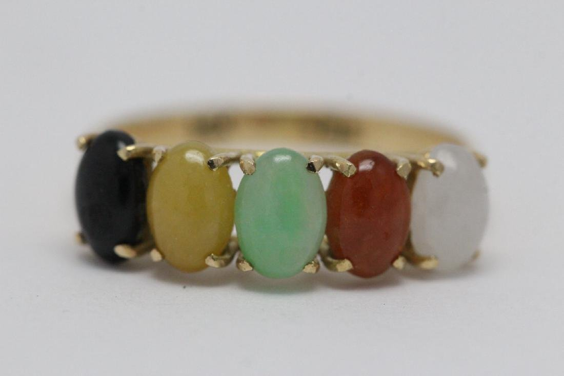 14K Y/G multi-color jadeite ring - 5