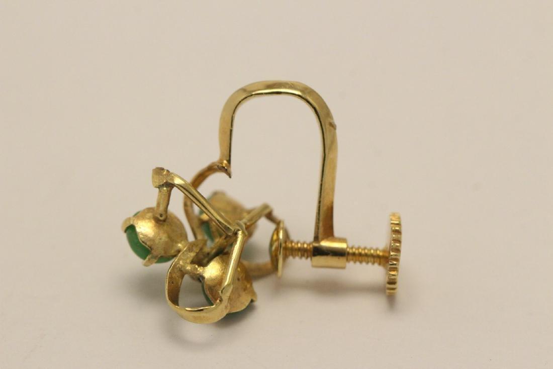 Pair 14K Y/G jadeite earrings - 10