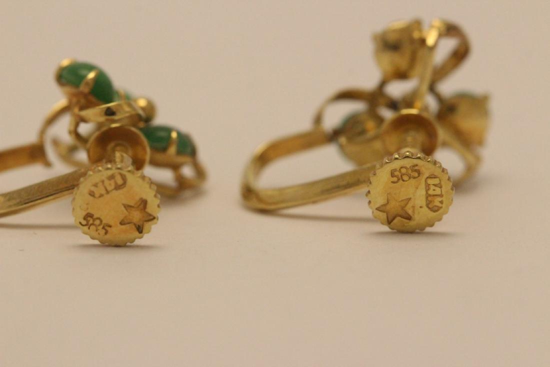 Pair 14K Y/G jadeite earrings - 2