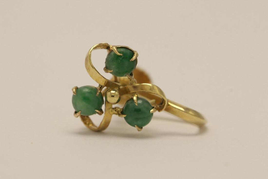 Pair 14K Y/G jadeite earrings - 3