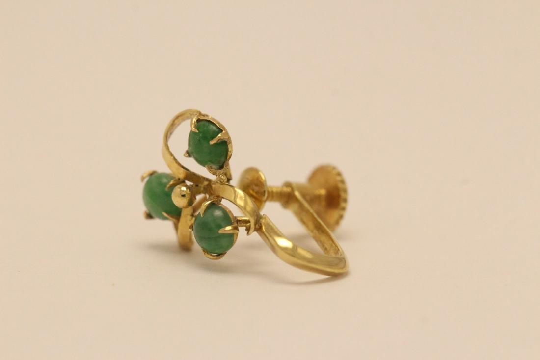 Pair 14K Y/G jadeite earrings - 4