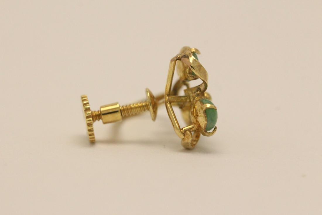 Pair 14K Y/G jadeite earrings - 5