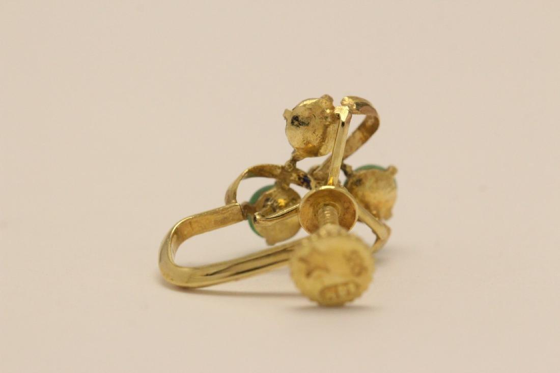 Pair 14K Y/G jadeite earrings - 6