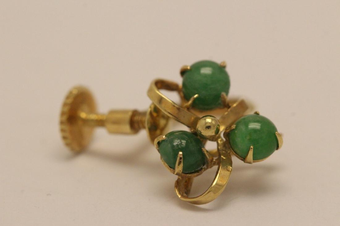 Pair 14K Y/G jadeite earrings - 7