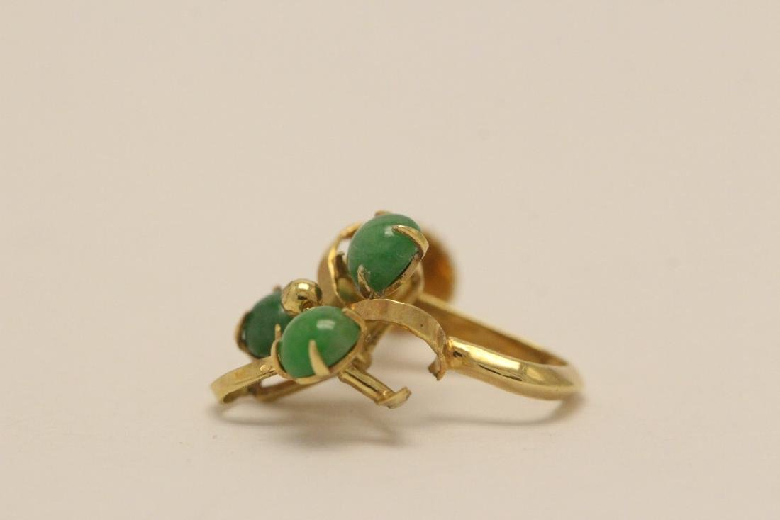 Pair 14K Y/G jadeite earrings - 8